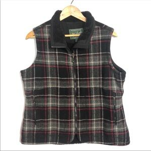 Woolrich plaid zip up lined wool vest xl